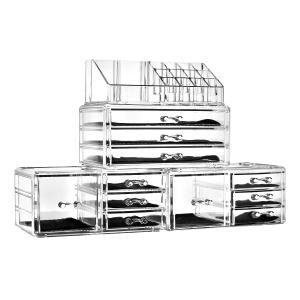 $39.99 (原价$49.99)手慢无:Unique Home 超大容量透明化妆品首饰收纳盒4件套