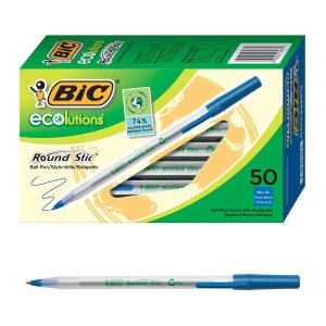 BIC Ecolutions Round Stic Ball Pen, 50-Count