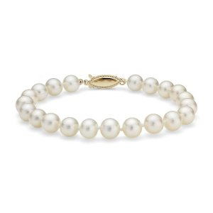 Blue NileFreshwater Cultured Pearl Bracelet in 14k Yellow Gold (7.0-7.5mm) | Blue Nile