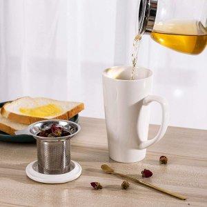 $9.79起 多色可选Diikoo 马卡龙色陶瓷茶杯 带茶叶过滤芯+茶勺 19oz