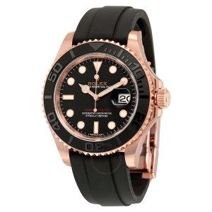 RolexYacht-Master Automatic Black Dial 18kt Everose Gold Black Rubber Strap Men's Watch 116655BKSRS