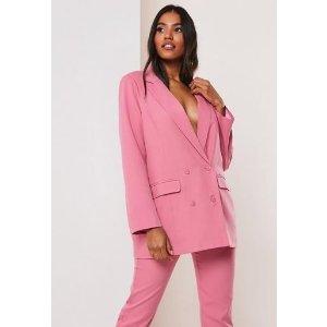 Missguided粉色西装外套