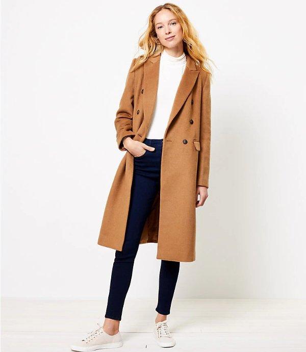 直筒双排扣羊毛大衣