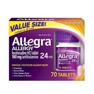 $19.78 (原价$42.99) 包邮Allegra 24小时抗过敏药 70粒 不瞌睡配方