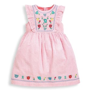 JoJo Maman Bebe新增2-3、3-4、4-5码女婴幼童刺绣连衣裙