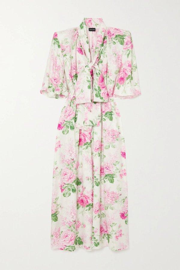 花卉雪纺连衣裙