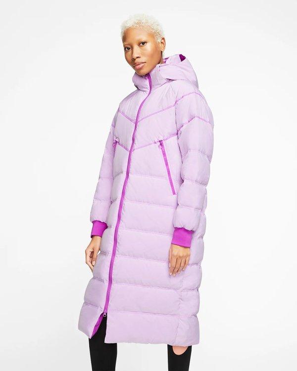 紫色长款羽绒服