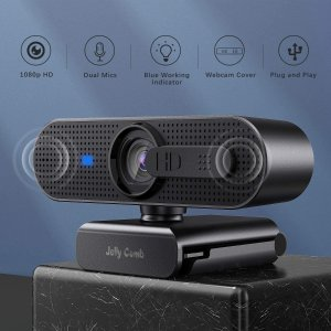 6.8折 €22.43(原价€32.99)Jelly Comb 1080p 高清网络摄像头 自带双麦克风 台式机必备