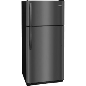 Frigidaire FFTR1821TD 30 Inch Top Freezer Refrigerator with Store-More™ Drawers, Store-More™ Gallon Shelf, Reversible Door, 1/2 Width Deli Drawer, Clear Dairy Bin, ADA Compliant and CSA Certified: Black Stainless Steel