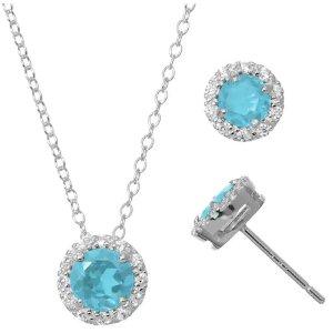 Black Friday Sale Live: Blue Topaz & Cubic Zirconia Sterling Silver Necklace & Stud Earring Set