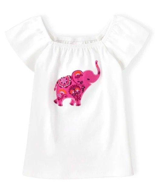 女童小象T恤