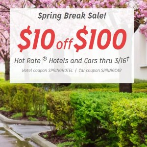 $10 off $100Spring Break Sale On Hotwire