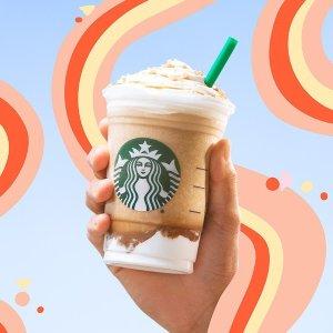 冰茶 Espresso 等咖啡冷饮买一送一星巴克 8/8 Happy Hour 咖啡限时优惠