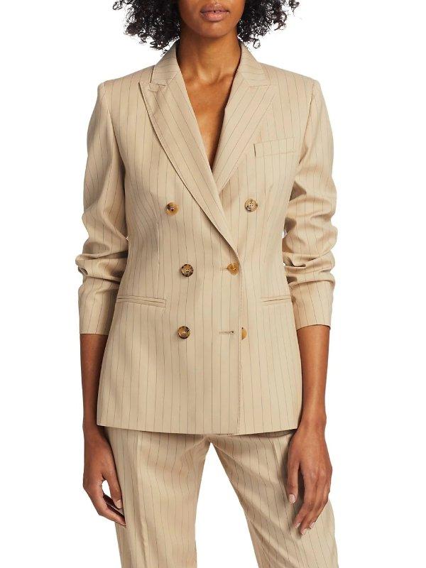 羊毛简约条纹双排扣西装