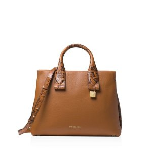 8614fd3bfb5f Michael KorsRollins Large Leather & Snakeskin-Embossed Leather Satchel