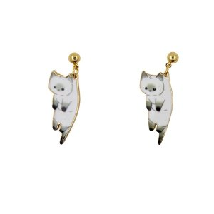 Drop Earring Cat White