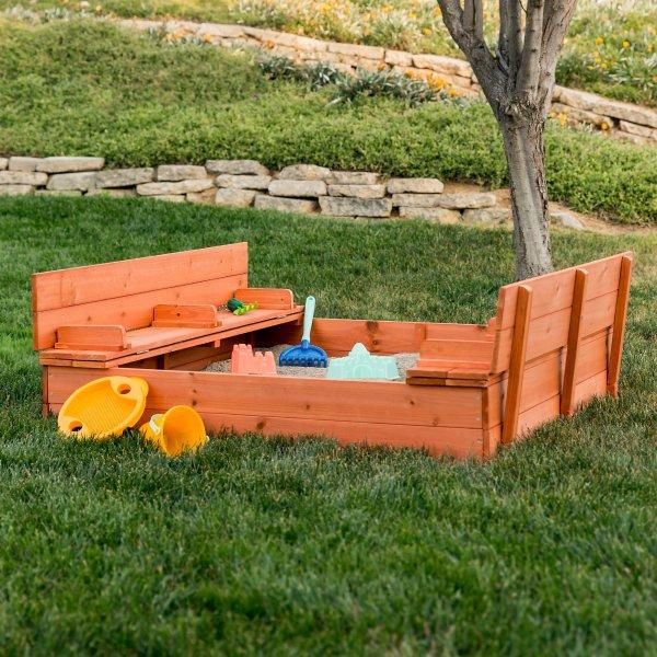 47x47in 儿童大型户外木质沙盒