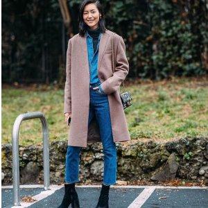 刘雯2月25日米兰时装周同款Acne Studios 粗跟鞋+Ricostru 羊毛大衣外套