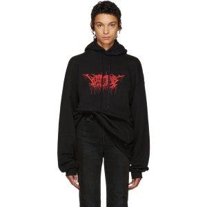 Vetements: Black Oversized Metal Logo Hoodie | SSENSE