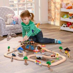 $49.97 (原价$69.99)史低价:KidKraft 木质火车轨道玩具套装  锻炼动手能力
