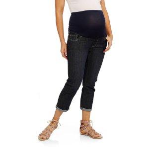 363981b05c Mamma Maternity Full Panel 5 Pockets Cuffed Hem Capri Denim Jeans
