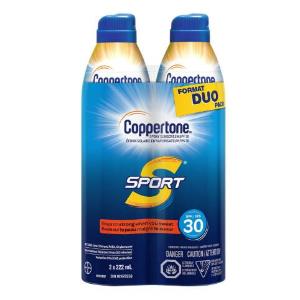 $10.56(原价$19.99)Coppertone 运动防晒喷雾两个装 SPF30 轻盈透气不黏腻