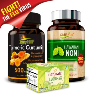 GMP VitasImmune Booster Bundle- Hawaiian Noni + Natural Turmeric Curcumin Extract+ Naturate Lemongrass