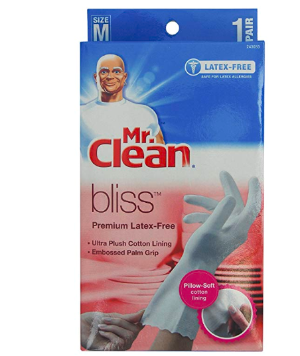 Mr. Clean, 243032 Bliss, Small Latex Free, Vinyl, Soft Ultra Absorbent Lining, Non- Slip Swirl Grip Gloves