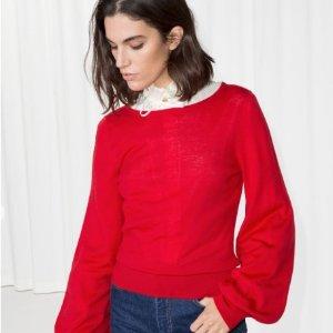 低至5折 显白显瘦 好运常驻Other Stories 新年红毛衣,大衣折扣热卖