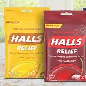 $6.7(原价$7.98)HALLS 三重舒缓止咳 润喉糖  抵抗感冒含一颗 80颗粒