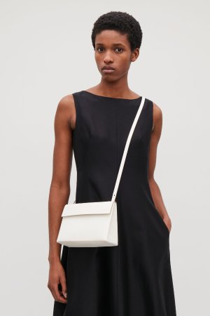 STRUCTURED LEATHER SHOULDER BAG - White - Bags - COS