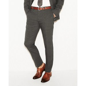 ExpressSlim Charcoal Gray Check Stretch Wool-blend Suit Pant