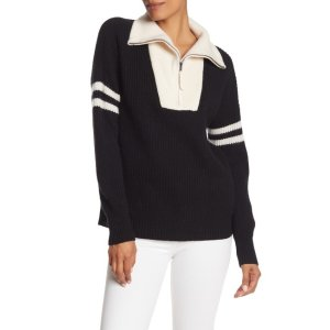 360 CASHMERENichola Quarter Zip Wool & Cashmere Sweater