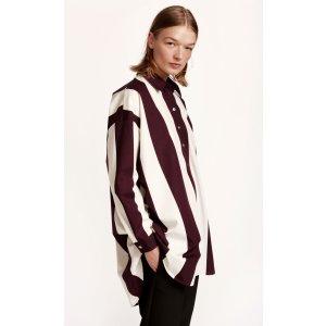 Nutte Tasapalkki tunic - off-white, dark purple - Clothing - SALE - Marimekko.com