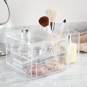 InterDesignClarity Cosmetic Organizer for Vanity Cabinet to Hold Makeup, Beauty Products, 2 Drawer with Side Caddy, Clear