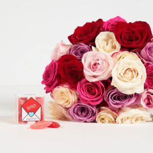 订阅享7折The Bouqs 情人节鲜花礼品组合促销, 玫瑰+Sugarfina仅$56