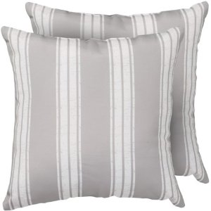 "THRO Indoor-Outdoor Bold Stripe Throw Pillows - 2-Pack, 18x18"", Ghost Gray"