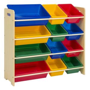 $42.30 + Free Shipping4-Tier Kids Wood Toy Storage Organizer Rack w/ 12 Bins