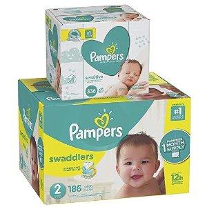 PampersSwaddlers 尿不湿2号, 186 片+宝宝湿巾336 片