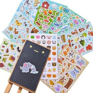 Sinceroduct 小动物造型贴纸1300张,8个主题