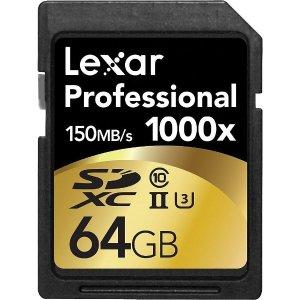 64GB仅$19.99+包邮Lexar 32GB/64GB/128GB 内存卡