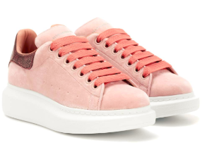 Alexander McQueen Snakeskin-trimmed velvet sneakers 100% cotton leather insole rubber sole P00270349 JENNJAW [JENNJAW] - £60.65