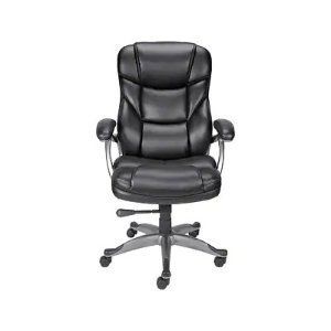 Quill Brand® Osgood High-Back Bonded Leather Manager Chair, Black (21076)