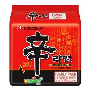 买3赠1韩国NONGSHIM农心 速食辛拉面 红色系列 4包入 480g