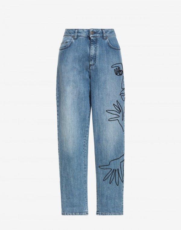 带Cornely刺绣的牛仔裤