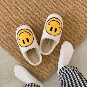 白色笑脸拖鞋