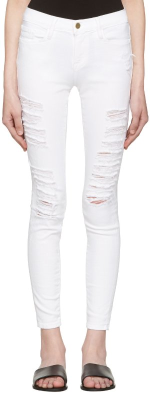 Frame Denim: White Le Color Ripped Jeans | SSENSE