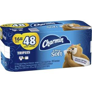 $10.42(原价$14.97)Charmin 超柔软Ultra Soft卫生纸16卷 1卷顶3卷