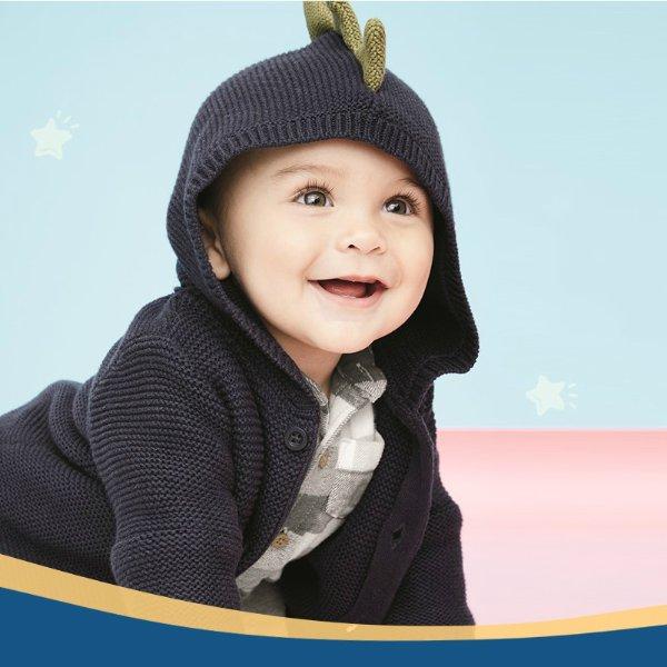 婴儿全棉恐龙针织外套