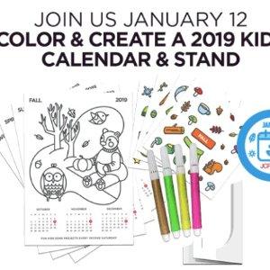 1月12日儿童免费制作2019年历及支架预告:JCPenney 儿童区免费手工活动